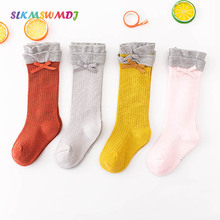 SLKMSWMDJ 1pairs new spring and summer childrens stockings bow lace solid color girls baby for 0-5 years old 4 colors