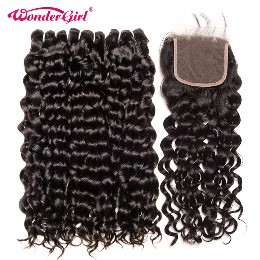 Brazilian Water Wave 3 Bundles With Closure Remy Human Hair Bundles With Closure Brazilian Hair No Tangle Wonder girl