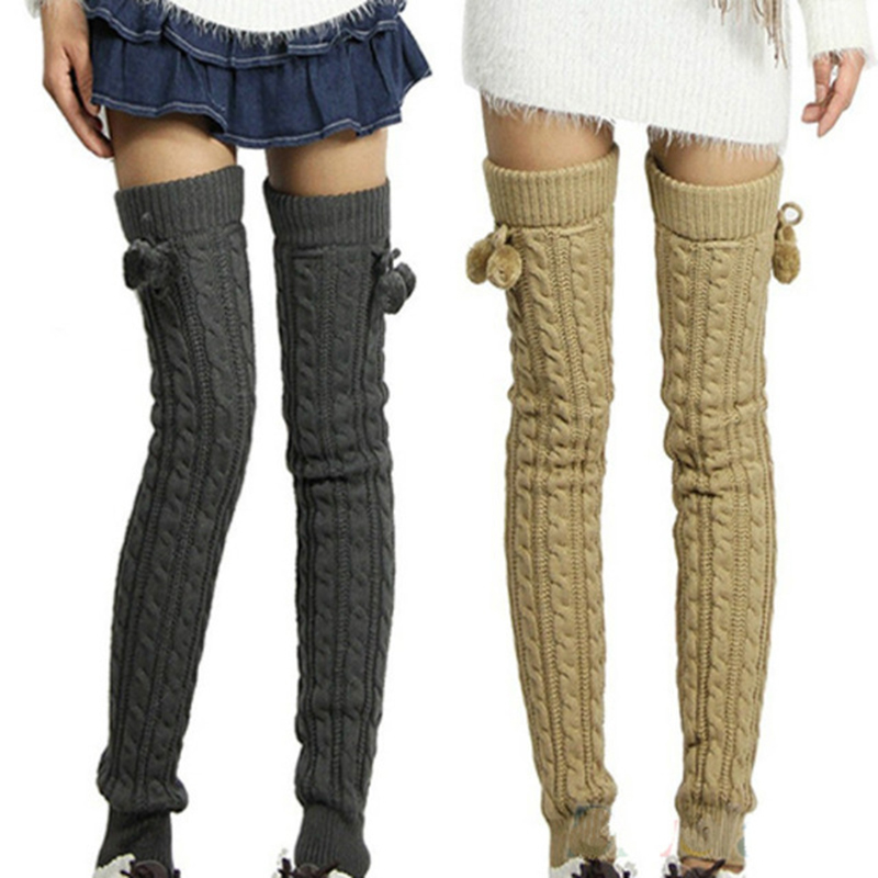 Winter Fashion Women Knitted Lge Warmers with Bow Pompon Hot Trendy Winter Fashion Accessories for Ladies Girls
