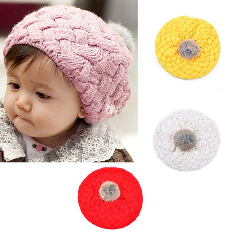 Wool Hat Kids Baby Faux Rabbit Fur Gorros Bebes Crochet Toddler Cap Beanies  0-3month 751daab5494