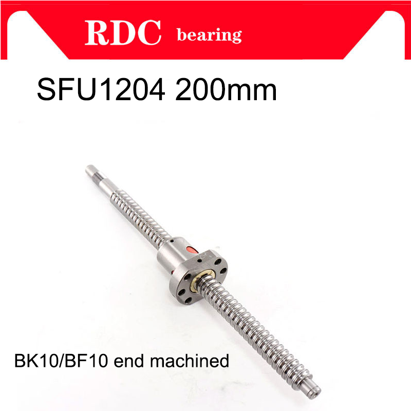 Hot mechined SFU1204 200mm ball screw with 1204 flange single ball nut BK/BF10 end machined SFU1204 ball nut CNC Engraving axk sfu1204 200mm ballscrew with sfu1204 single ballnut for cnc parts bk bf10 machined