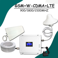 Lintratek LCD Display GSM 900 W CDMA 2100 LTE 1800mhz Tri Band Signal Booster 2G 3G