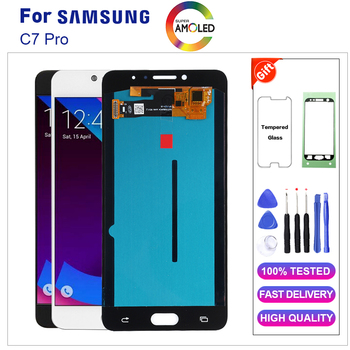 AMOLED For Samsung C7 Pro LCD Display With Touch Screen Digitizer Assembly C7010 LCD Replacement+Tempered glass With Tools