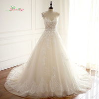 Dream Angel Robe De Mariee Scoop Neck A Line Wedding Dresses 2017 Sexy Illusion Appliques Beaded