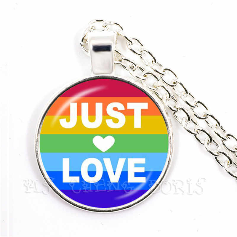 Just Love Rainbow Necklace For Women Men Gay Lesbian Pride With Rainbow Love Wins LGBT Glass Dome Pendant Necklace Gift