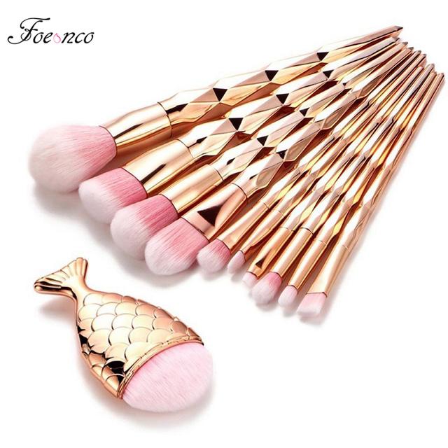 11Pcs Diamond Rose Gold Makeup Brushes Set Mermaid Fishtail Shaped Foundation Powder Cosmetics Brush Rainbow Eyeshadow Brush Kit