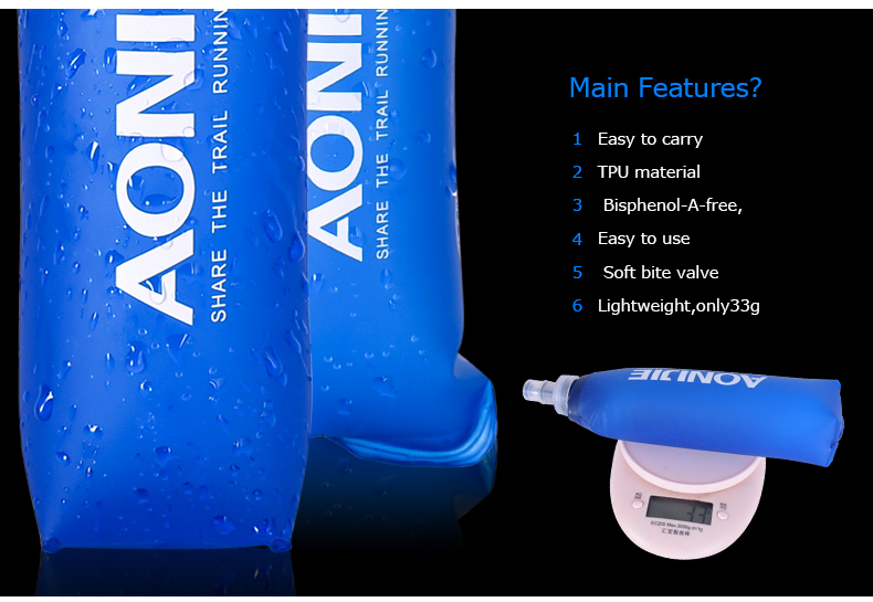 Foto of features water's flask folding TPU for sport. Collapsible flask of water 500ml for hiking