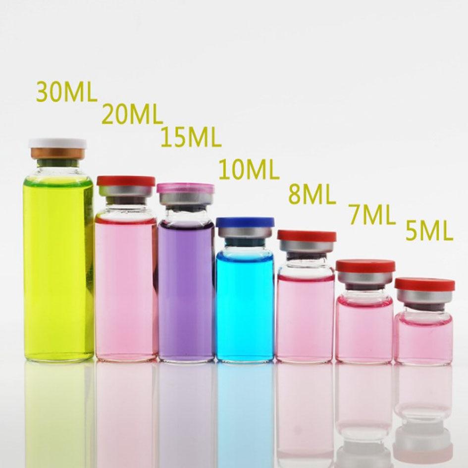 Image 3 - 50 pièces/lot4ml 5ml 6ml 8ml 10ml 12ml 15ml 20ml 30ml flacon en verre transparent pour Injection ambre et bouchon amovible petites bouteilles de médicaments en verreGourdes   -