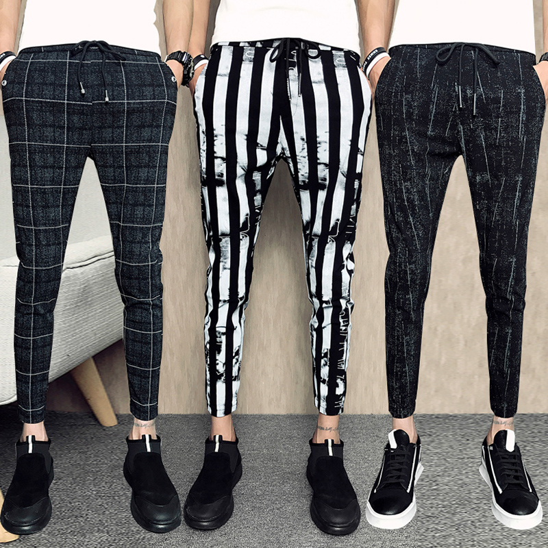 2019 Men Casual Grid Pants Gym Slim Trousers New Solid Running Joggers Gym Long Sweatpants/Male Elastic Waistline Haroun Pants