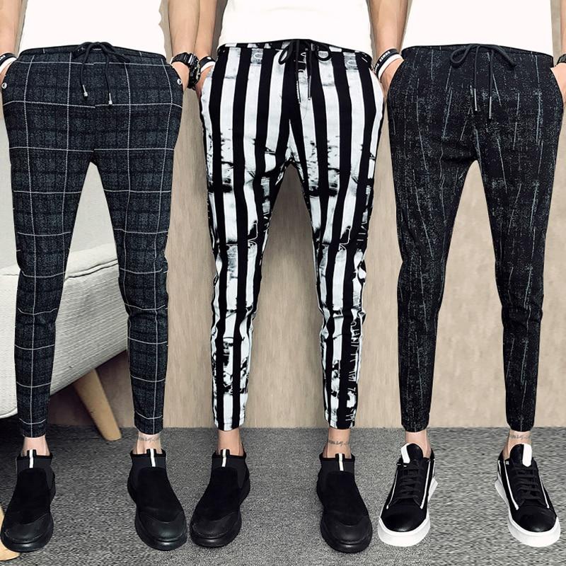 2019 Men Casual Grid Pants Gym Slim Trousers New Solid Running Joggers Gym Long Sweatpants/Male Elastic Waistline Haroun Pants
