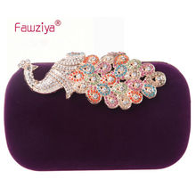 Fawziya Evening Clutch Purses Velvet Clutch Purse Rhinestones Peacock Clutch Evening Bag