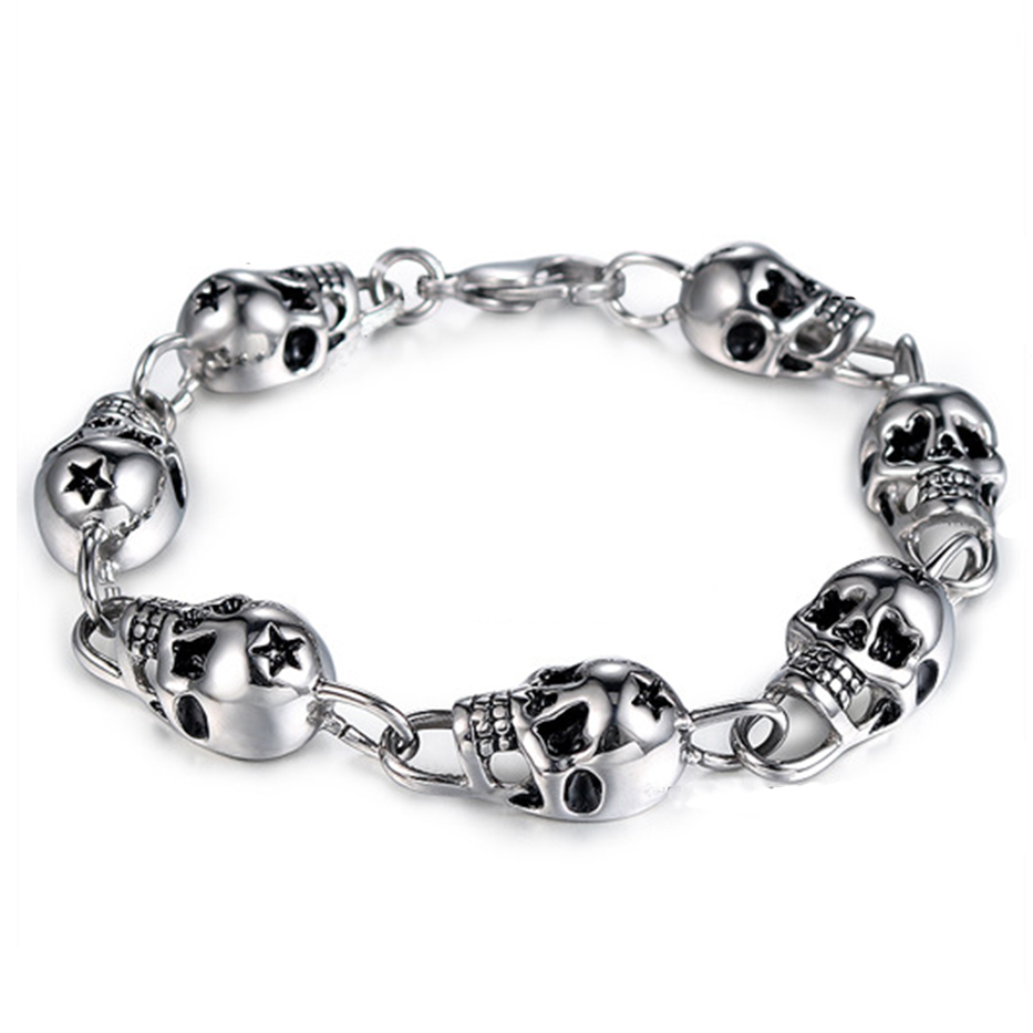 Men's Bracelet Stainless Steel Men Bracelet Male Gold Color Skull Chain Link Bracelet For Men Punk Gothic Jewelry Halloween Gift chic skull shape bracelet for men