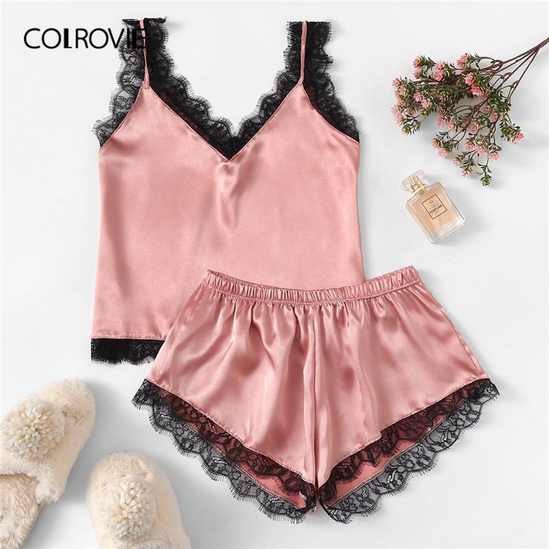 COLROVIE Pink Eyelash Lace Satin Cami Top With Panties   Pajama     Set   Womens 2019 Sleeveless Lounge Sleepwear Casual Nightgown