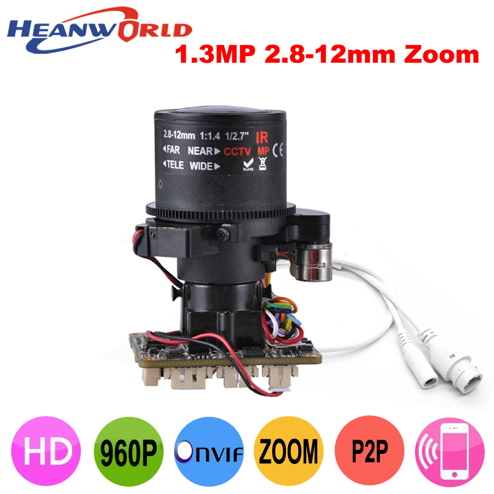 Heanworld 960P 1.3MP IP Camera Main board module CCTV board Network Camera with 2.8-12mm Auto lens and Lan cable ONVIF IP Board module xilinx xc3s500e spartan 3e fpga development evaluation board lcd1602 lcd12864 12 module open3s500e package b