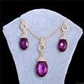 Boda/Novia noble Ametyst joyería Chapados En Oro de Las Mujeres/de la Muchacha Púrpura CZ Diamond Collar + Pendientes de La Boda Sistema de la joyería