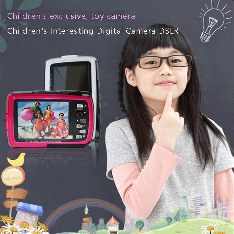 IF045Children's Toy Digital Camera Dual - Screen Camera Video Self - Waterproof IF 045
