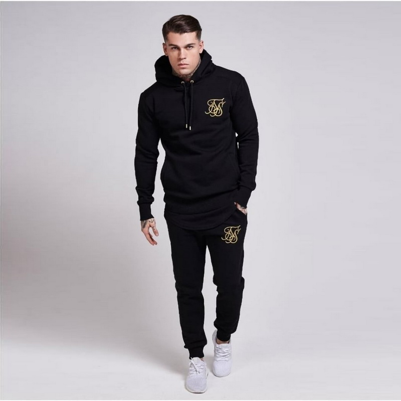 Brand Men Fashion Kanye West Sik Silk Hoodies Sweatshirts Men Hip hop embroidery Cotton GYMS Hooded+Pants Man Clothing