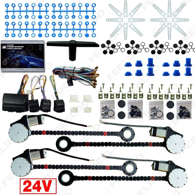 DC24V Car/Truck Universal 4 Doors Electronice Power Window kits With 8pcs/Set Swithces & Harness #FD-4498