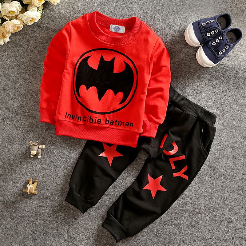 New 2017 Spring Boys Outfits Casual Clothes Sets Cartoon Baby Kids Pattern Costumes Suits Cotton Children Clothing J1-CC228