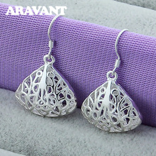 Silver Earring Christmas-Jewelry Women Ethnic Gifts Hollow-Pattern