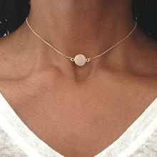 Fashion Women Necklace New geometric resin disc collarbone chain necklace Pendant Necklace alloy metal geometric collarbone necklace