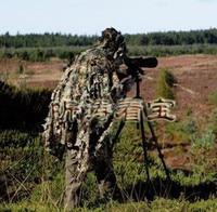Tactical Sniper 3D camuflaje Woodland hojas Ghillie traje de caza ropa transpirable CAMO poncho manto adecuado para cualquier figura