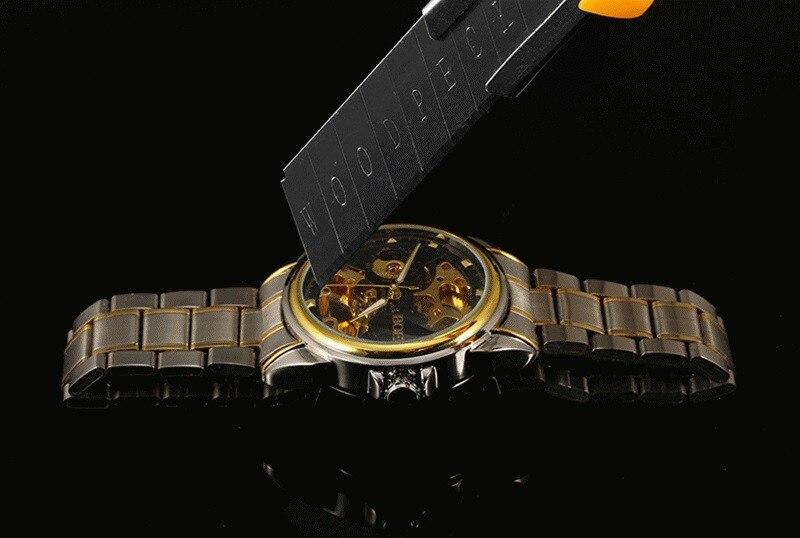 HTB1iicUbfWG3KVjSZFgq6zTspXaK Men's Watches Automatic Mechanical Gold Watch Male Skeleton Dial Waterproof Stainless Steel Band Bosck Sports Watches Self Wind
