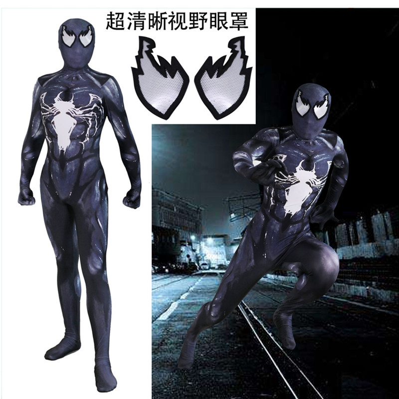 High quality Venom Raimi Saga Spider-Man Superhero Cosplay Costumes Zentai Spider Man Bodysuit Jumpsuits fancy ball party suits