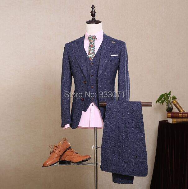 Blue wool Classic Tweed Custom Men suits Groom Formal  Blazers Retro tailor made slim fit Wedding Party suit for man 3 Piece