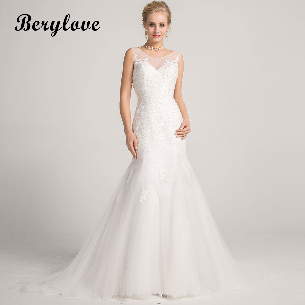 BeryLove Modest White Mermaid Wedding Dresses 2018 Long Pearls Flowers Backless Wedding Gowns China Women Styles Wedding Gowns