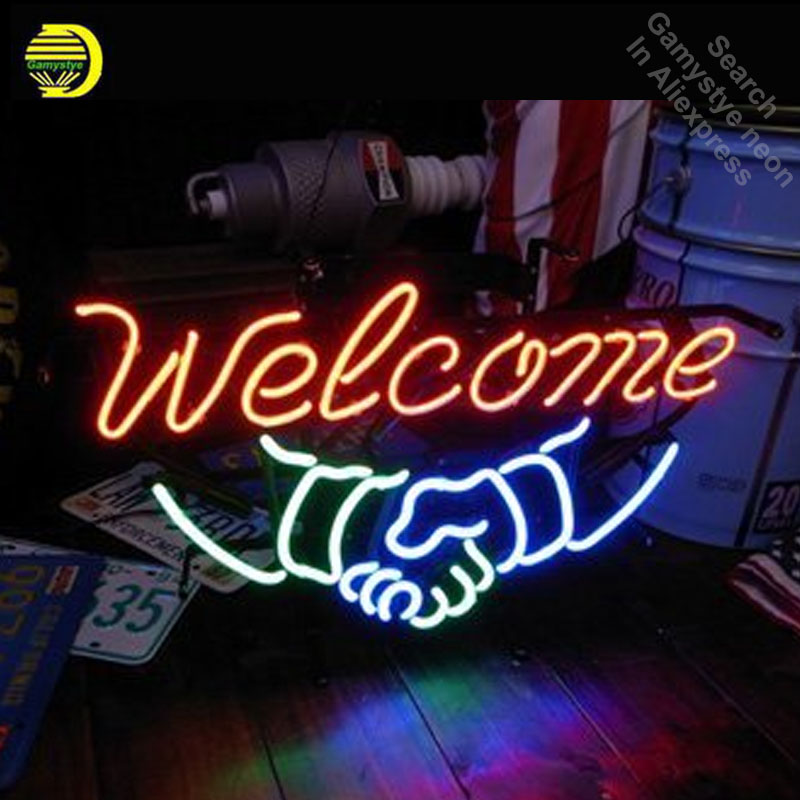 Welcome hand by hand Neon Sign Lamp with metal frame GLASS Tube Handcraft Room Light Signs advertise lamp neon Welcome hand by hand Neon Sign Lamp with metal frame GLASS Tube Handcraft Room Light Signs advertise lamp neon