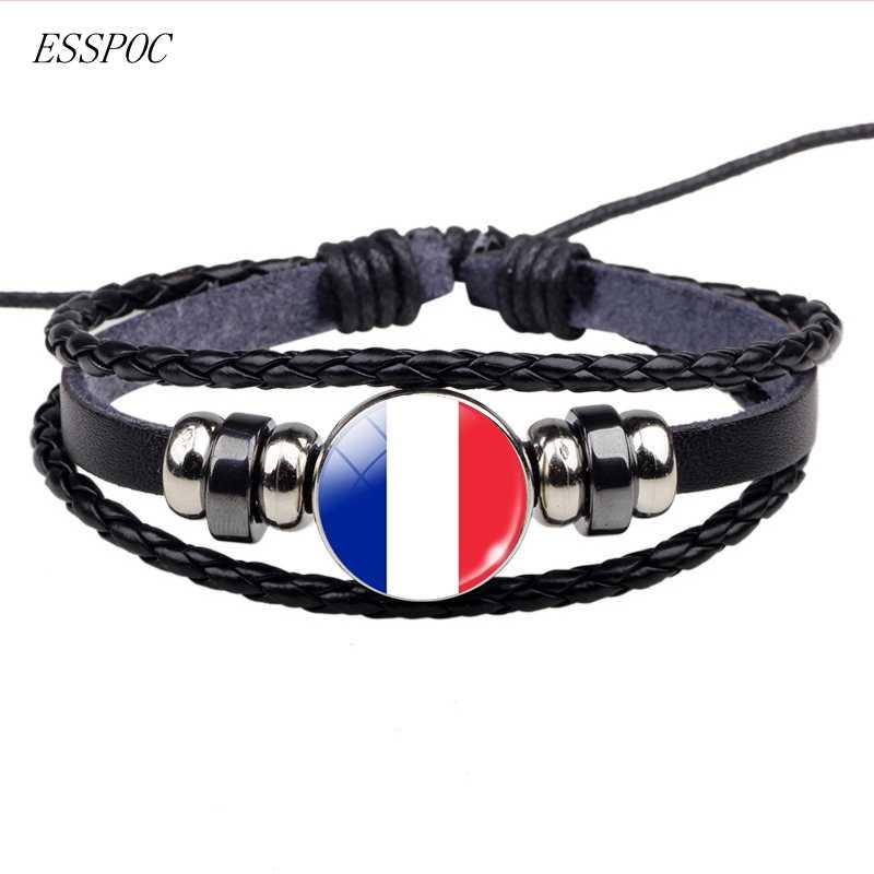 Soccer Leather Bracelet Football Glass Metal Buckle Punk Jewelry France Russia UK Flag Bracelet Men Women Punk