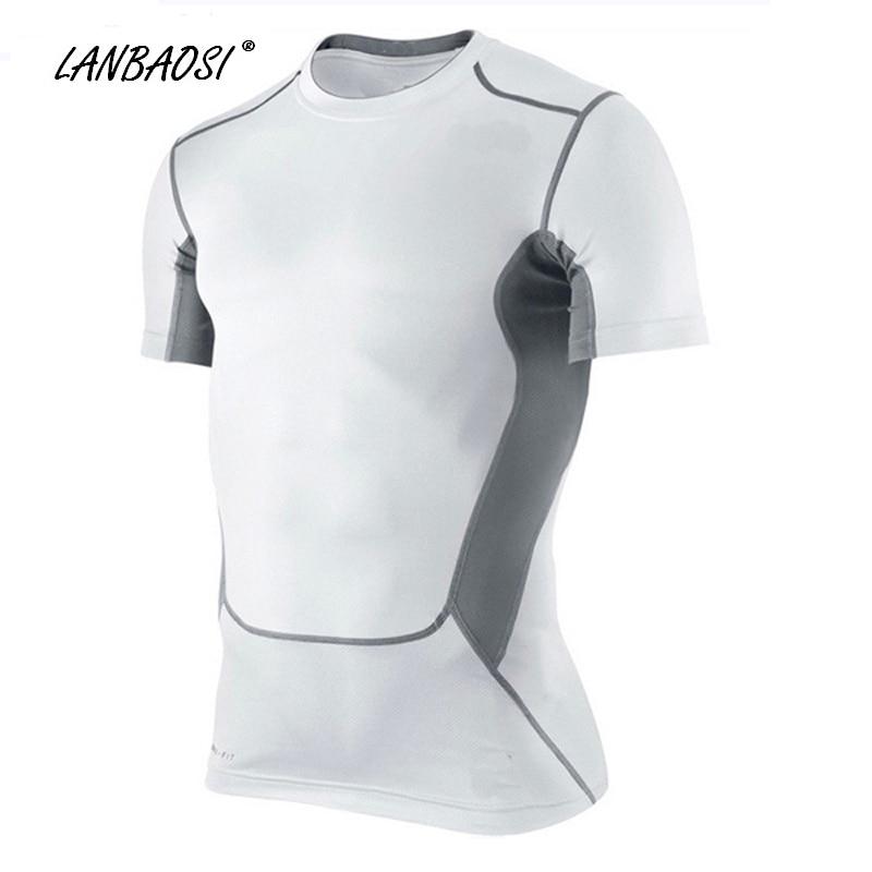 Camisetas de baloncesto de compresión LANBAOSI para hombres Camisetas de manga corta transpirables, de secado rápido, frías y transpirables para correr.