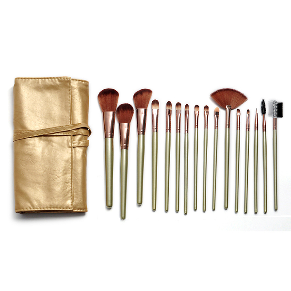 ISMINE Cheap Newly 16 pcs Professional Gold Handle Nylon Hair Cosmetic Travel Makeup Brushes Set With Gold Leather Roll-up Case economic newly design 2 4mx1 2mx3cm cheap gymnastic mats