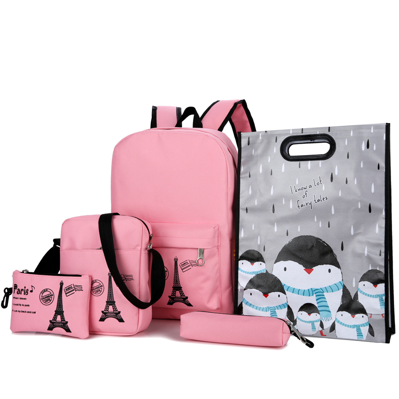 Fashion Winter 9 Pcs/set Women Backpacks School Bags for Teenage Girls and Boys Printing Canvas Backpacks Ladies Shoulder Bags hynes eagle 3 pcs set 3d letter bookbag boys backpacks school bags children shoulder bag mochila girls exo printing backpack