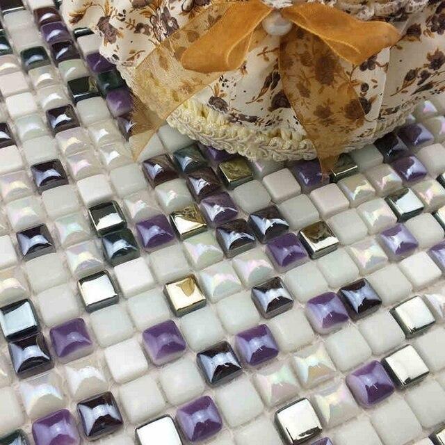 Purple Mixed White Color Mini Full Body Ceramic Mosaic Tiles For