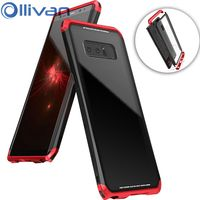 OLLIVAN Heavy Duty For Samsung Note 8 Case Aluminum Frame Tempered Glass Mobile Phone Cover For