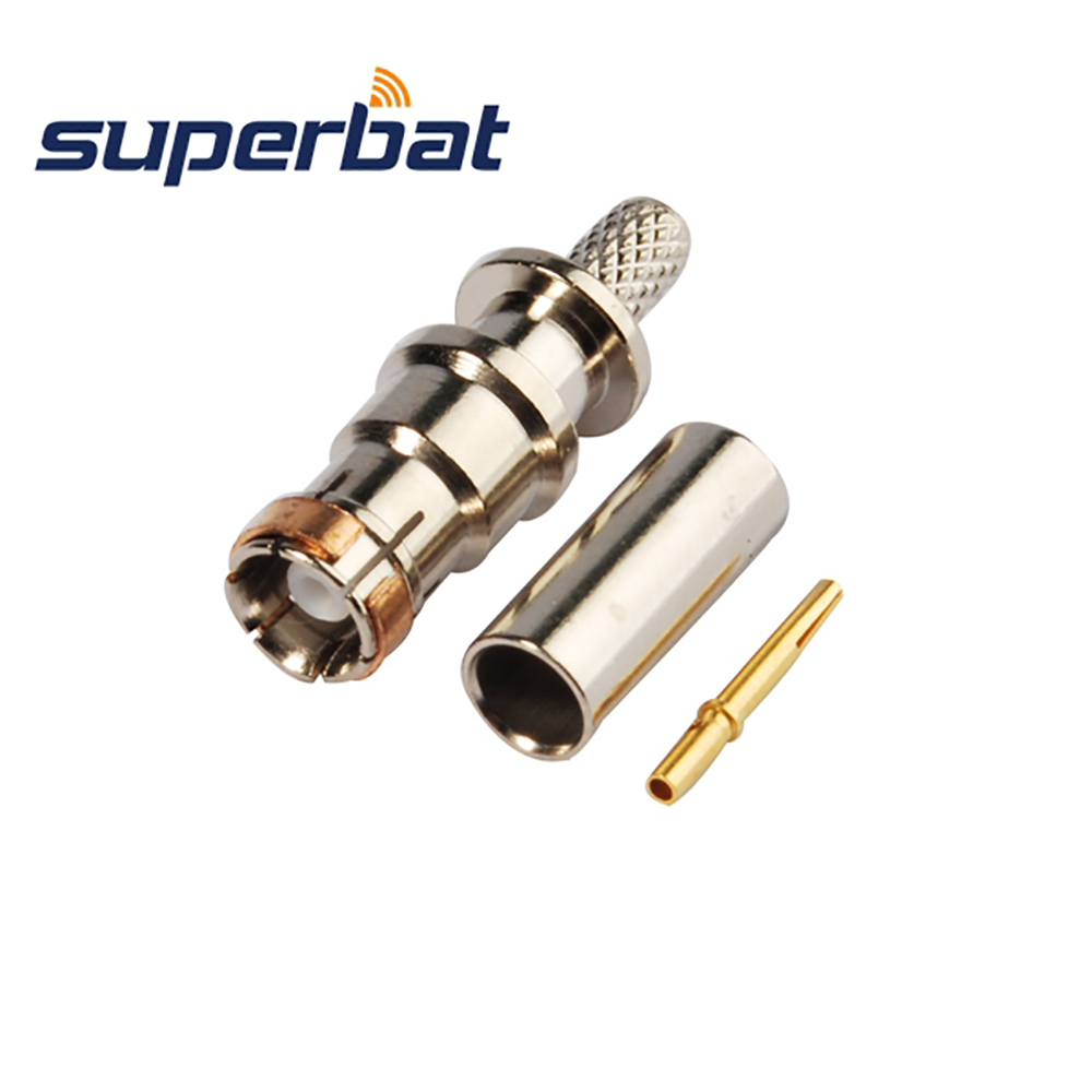 Superbat 10pcs Fakra Connector DAB+ Antennas Connector SMB Plug Male Straight Crimp Attachment For Cable RG174 RG316 LMR100