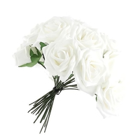 50 Pcs Artificial White Foam Rose Flower Bouquets With Stem For Teachers Day Mother S Day