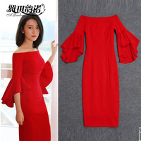 Asian Style Trend Celebrity Slim Sheath Dresses Slash Neck Designing Flare Sleeve Solid Color Red Party Stretchy Fashion Dress
