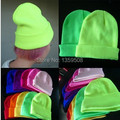 Free Shipping 2014 New 10pcs/lot Hot Multi Fluorescence Color Warm Women Men Fancy Knit Wrap Ski Hat Beanie Cuff Caps