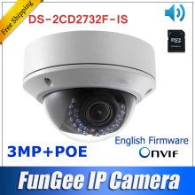 3MP Network IP camera Ds-2cd2732f-is Multilingual English firmware V5.2.5  Full HD1080P in stock mini dome camera poe sd card