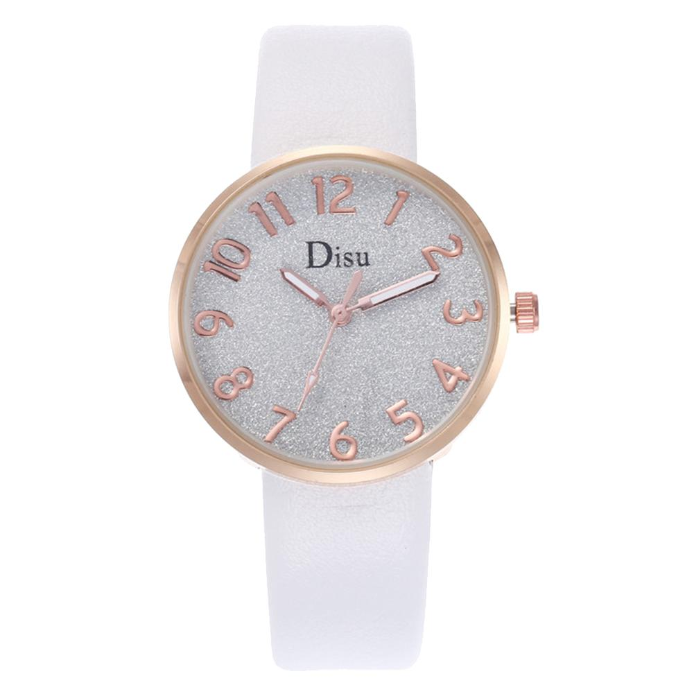 Newly Fashion Gradient Shimmer Round Dial Women Faux Leather Band Quartz Wrist Watch