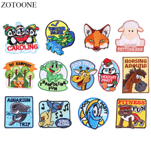ZOTOONE Cartoon Animal Patches for Clothing Iron on Fox Bird Patch Jeans Applique Embroidery Stickers Clothes DIY
