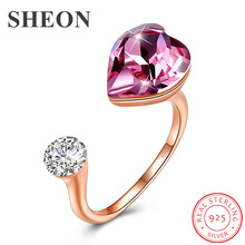 SHEON Love Heart Crystal Rings 925 sterling silver Open Adjustable Finger Ring for Women Fine Sterling Silver Jewelry  2 Colors oloey simple cross shape open rings for women pure 925 sterling silver finger adjustable ring fine accessories jewelry ymr071