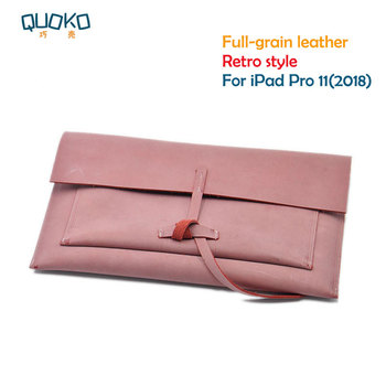 Retro style Tablet Bag super slim sleeve pouch cover,100% Full-grain leather Tablet sleeve case for Apple 2018 iPad Pro 11 inch
