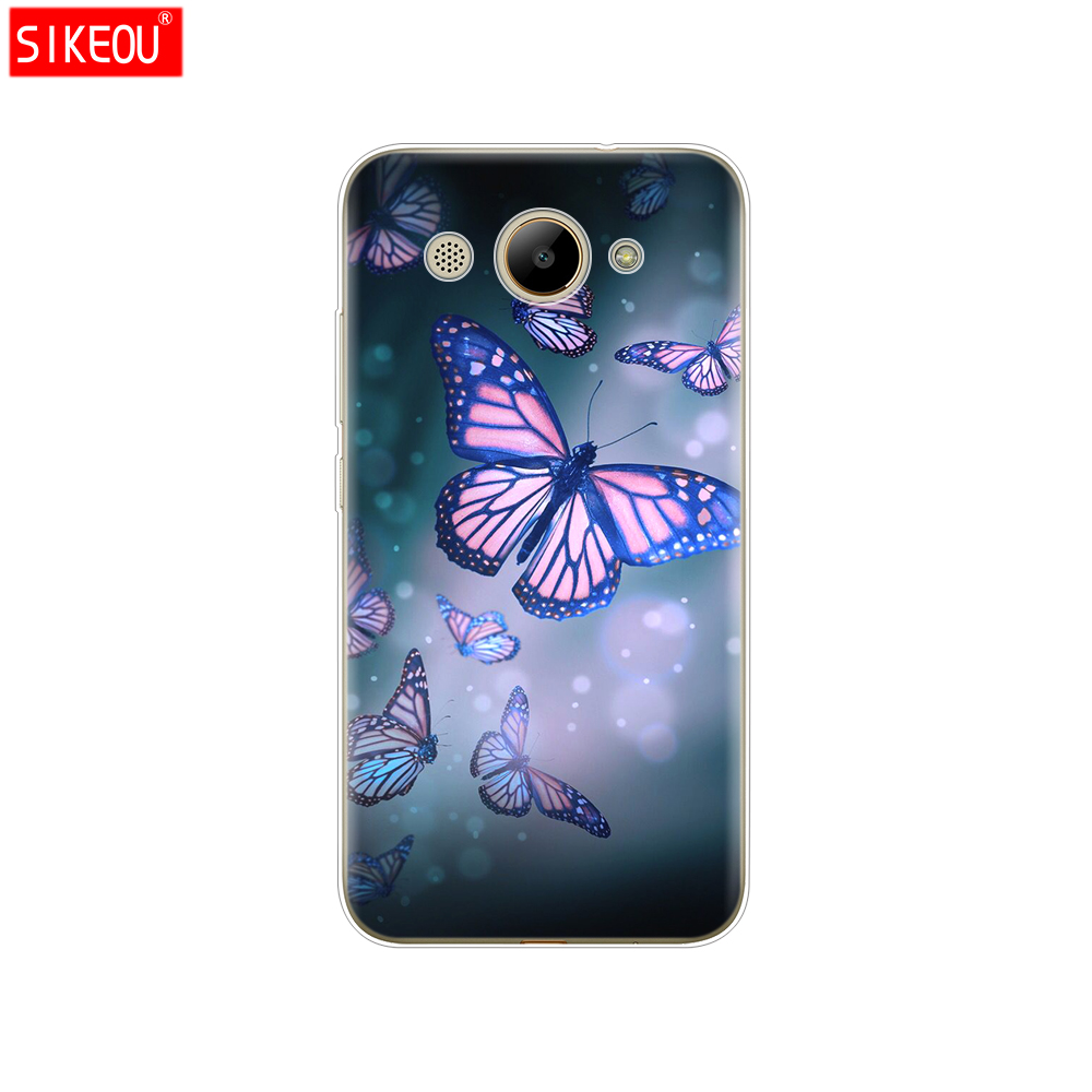 Image 4 - For Huawei Y3 2017 Case Soft Silicone Huawei Y3 2017 Transparent Back Cover 5.0'' TPU Y 3 2017 Phone Cases Cat flower-in Fitted Cases from Cellphones & Telecommunications