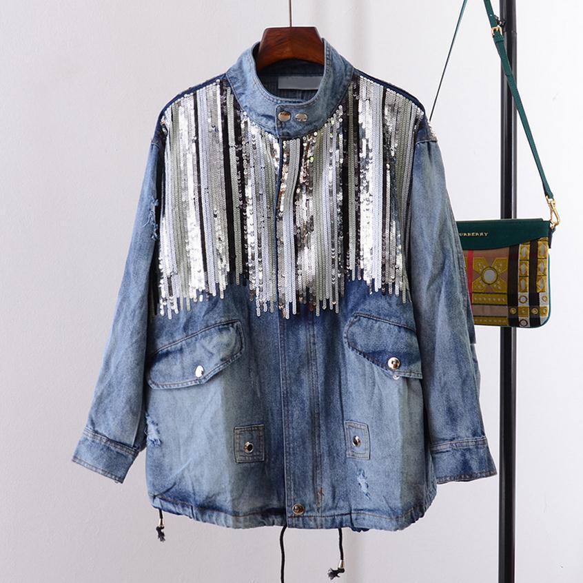 Denim jacket women jacket fashion coats bling Sequins long sleeves blue vintage boho hippie chic jacket Chaquetas Mujer wj284 deep blue fashion long sleeves side pockets embroidery jacket