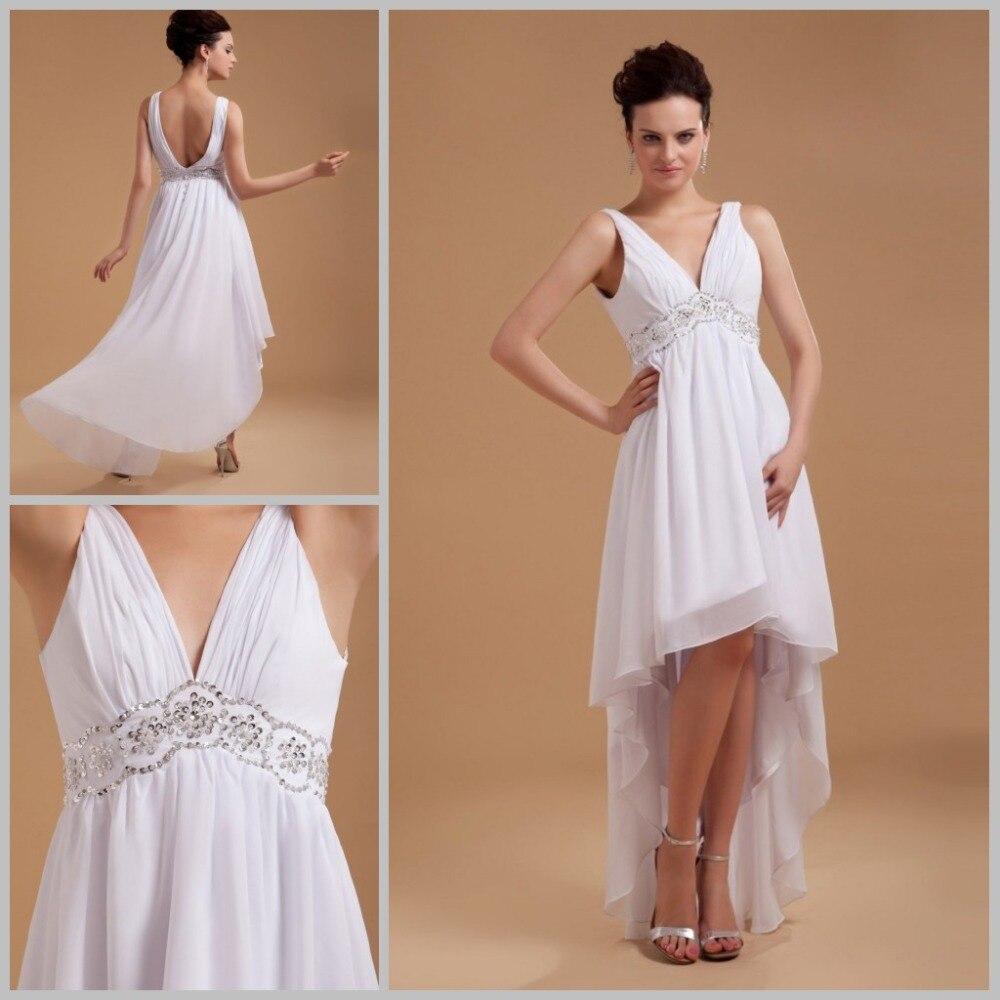 Romantic Empire Wedding Dress Short Pleats V Neck China