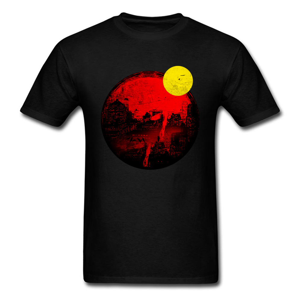 Eclipse 2018 Vintage Painting T-shirt Men Black T Shirt Sun Moon Printed Fitness Summer Clothing Fathers Day Gift Tshirt